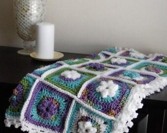 Crochet Flower Windowpane Baby Blanket with Picot Edge