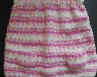 Unique Pink and white Fair Isle effect girls dress with white picot edging to fit age 6 - 9