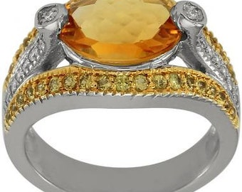 Citrine Ring Oval Shape Set With Yellow Sapphires And Diamonds In 14K White Gold