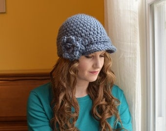 Crochet newsboy hat with flower, Womens crochet newsboy hat, Brimmed beanie hat