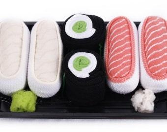Sushi Socks Box 3 pairs Butterfish Salmon Cucumber Maki Cool Gift Present Gadget