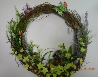 Fairy Garden Gnome Grapevine Wreath