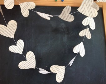 Paper garland HEARTS/ Upcycled book pages garland/ Wedding decoration / Event decoration/ Baby shower decor/ Nursery decor /Party decor