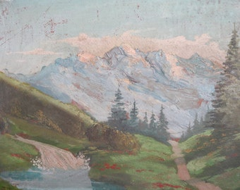 Antique mountain oil impressionist painting