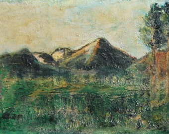 Antique oil impressionist painting mountain