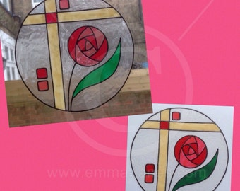 Rose window cling glass & mirror decoration, Mackintosh style, hand painted  reusable static cling faux stained glass decal