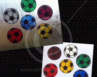 Football / soccer balls window cling set of 6, hand painted for glass & mirror decoration, static cling, ideal for childs room.