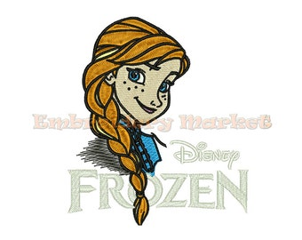 princess anna embroidery Design for Embroidery Machines 4 sizes - Instant Download