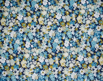Retro Style Fabric with Blue White and Mustard Floral Design