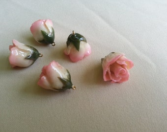 resin preserved mini rose bud pendant pink and white