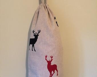 Red & Black Stag carrier bag holder