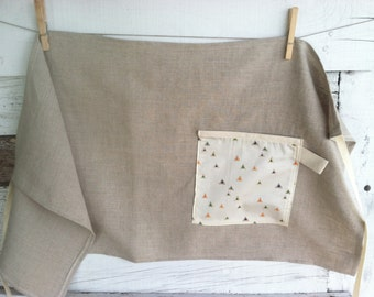 Linen Half Apron with Single Pocket - Natural with Peppered Triangles