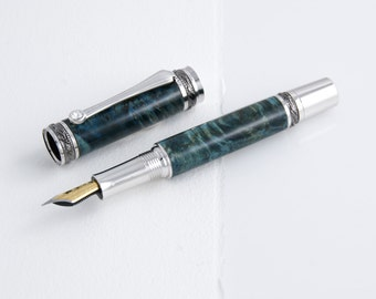 Teal Maple Burl Fountain Pen with Swarovski Crystal and Black Titianium/Rhodium, handturned
