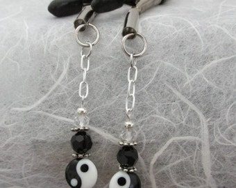 Nipple Clamps Adjustable Black White Silver Ying Yang Bead