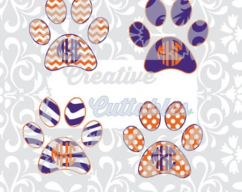 SVG School Mascot Cougar, Lion, Tiger, Husky, Bulldog Paw Chevron for  Silhouette or other craft cutters (.svg/.dxf/.eps)