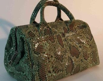 Snake printed fabric doctor bag. Green doctor bag.