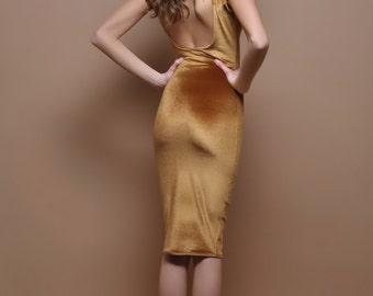 Light Brown Velvet Bodycon Dress Open Back Sleeveless