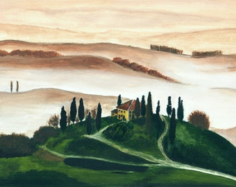 Lonely house in Tuscany. Good quality print of original painting, 12x16 inches.