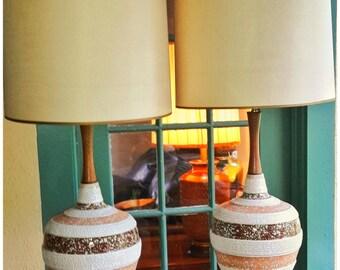 Vintage Mid Century Danish Lamp Ceramic Glazed