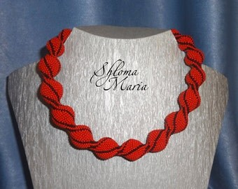"""Bead Crochet Necklace """"Coral truffles"""""""