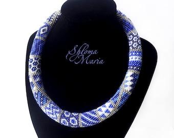 "Bead Crochet Necklace ""Blue patchwork"""