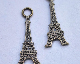 20pcs Eiffel Tower Pendants ( Double Side )12x32mm Antique Bronze Tone