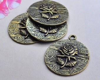 Flower Charms,Flower Pendants. 10pcs Antique Bronze Rose Flower Charm Pendants 38mm