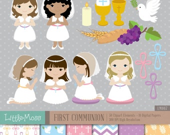 Girl First Communion Digital Clipart and Papers, Communion Girl Clipart, Communion Clipart