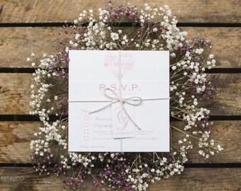 Word Art Heart Wedding Invite and RSVP