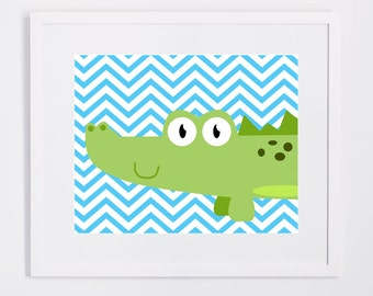 Nursery Wall Decor - Green Alligator with Blue or Pink Chevron Background
