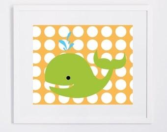 Nursery Wall Art - Green Whale, Polka Dot Background 5x7 and 8x10