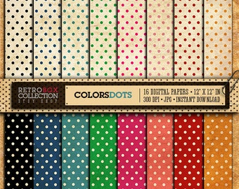 Dots Digital Paper vintage - Polka dot 16 Digital Papers pack printable collage sheet instant download - Retro Box Collection