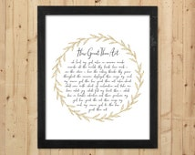 How Great Thou Art Print / Christian Printable Hymn Lyrics / How Great Thou Art Printable Wall Art / Downloadable Christian Print