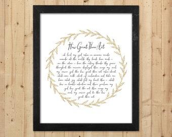 How Great Thou Art Print / Christian Printable Hymn Lyrics / How Great Thou Art Printable Wall Art / Downloadable Christian Print