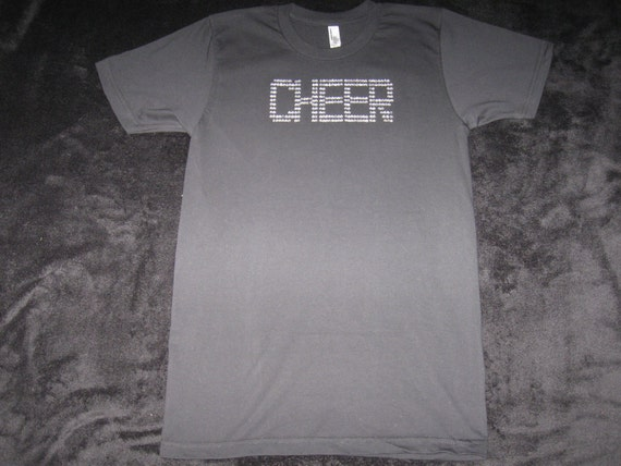 Custom Made Black Cheer T-Shirt - With Cheer in Silver Rhinestones