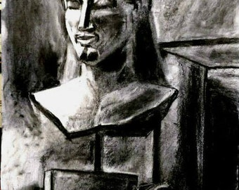 Original Charcoal Drawing, Kouros Statue by artist Elli Kontou