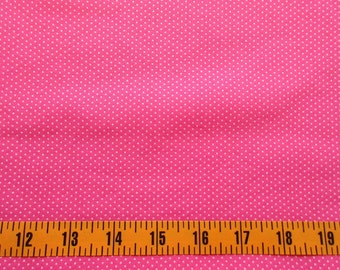 Pink Pin Dot Cotton Fabric By The Yard, Pink Quilting Cotton Fabric, Pink Dot Fabric, Pink Cotton Material with White Pin dots, b1-001