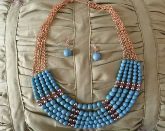 Women Turquoise Necklace set