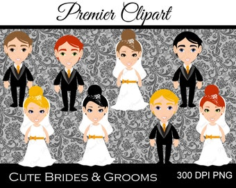 Cute Brides and Grooms Digital Clipart