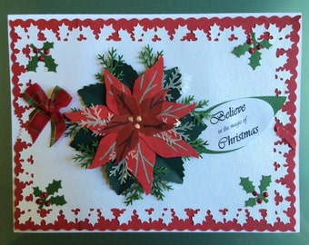Poinsettia Holiday/Christmas Cards  & Notecards  Handmade
