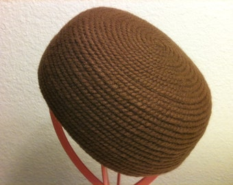 SOLD! Vintage 60s Everitt Original Needlepoint Brown Pillbox Hat