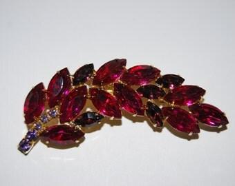 Vintage Juliana-Style Fuschia and Purple Rhinestone Leaf or Feather Brooch