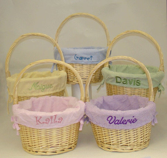 Items Similar To Personalized Natural Easter Basket With