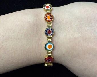 Beautiful vintage colorful millefiori bracelet