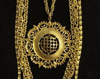 Vintage gold toned ornate necklace