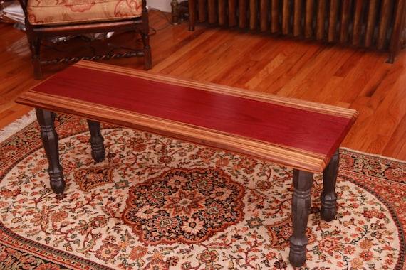 Purple heart and zebra wood coffee table for Purple coffee table