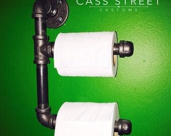 Double Industrial Bathroom Black Pipe Toilet Paper Holder