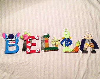 100% ALL wood stitch and friends character letter art