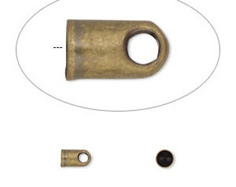 Cord End, glue in cord end, antiqued gold, 5-1/2x3-1/2mm, inside 2-1/2mm, 20 each, D626