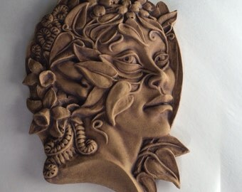Nature goddess stoneware plaque